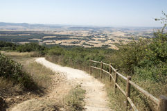 Camino de Santiago from Pamplona to Puente la Reina Stock Photos