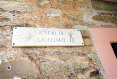 Camino de santiago. A sign of the pilgrimage way camino de santiago in spain Royalty Free Stock Images