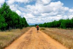 CAMINO DE SANTIAGO CASTILLA, SPAIN - Spanish meseta route. Camino de Santiago Spain - A pilgrim along the way of St.James, in the spanish meseta royalty free stock images