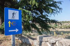 Camino de Santiago in Spain. Camino de Santiago road sign in Spain stock photo