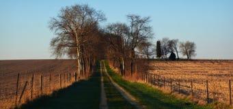 Camino de tierra del campo y cerca de madera imagen de archivo