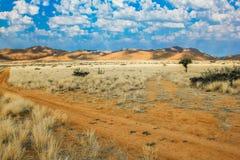 Camino de tierra entre las nubes, las montañas y el desierto Foto de archivo libre de regalías