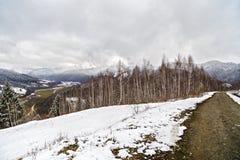 Camino de tierra a las montañas a través Foto de archivo libre de regalías