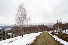Camino de tierra a las montañas a través Imágenes de archivo libres de regalías