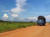 Camino de tierra de navegación pesadamente cargado del camión en el sur al oeste de Democ fotografía de archivo