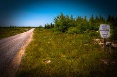 Camino de tierra a través de la alta meseta de Dolly Sods Wilderness, lunes Foto de archivo