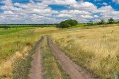 Camino de tierra a través del prado del verano Fotografía de archivo