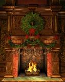 Camino decorato per il Natale Immagini Stock