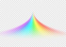 Camino del arco iris en fondo transparente ligero stock de ilustración