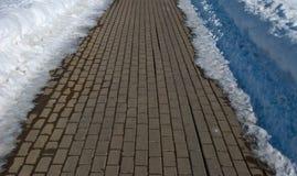 Camino del bloque en invierno foto de archivo libre de regalías