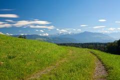 Camino del campo, campo verde, montañas Imagenes de archivo