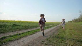 Camino del campo cruzado de la niña y del muchacho en la puesta del sol, cámara lenta, niño lindo dos en parque, al aire libre, h almacen de metraje de vídeo