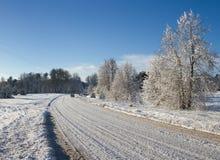 Camino del campo en un invierno Fotografía de archivo libre de regalías