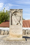 Camino del Cid signpost with a shield and a sword in Los Ausines, Burgos, Spain Stock Photography