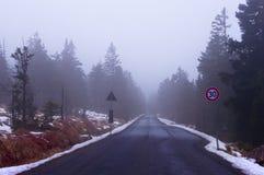 Camino del coche en niebla en un día de invierno Parque nacional Harz, Alemania fotografía de archivo