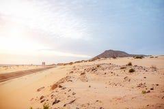 Camino del desierto en la isla de Fuerteventura Fotos de archivo libres de regalías