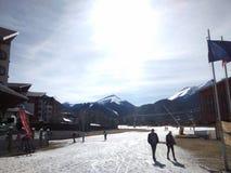 Camino del esquí en un día caliente Fotografía de archivo libre de regalías