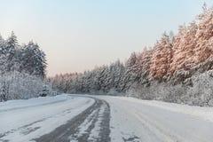 Camino del invierno con el hielo en el asfalto, árboles debajo de la nieve durante la helada del invierno Imagenes de archivo