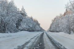 Camino del invierno con el hielo en el asfalto, árboles debajo de la nieve durante la helada del invierno Foto de archivo libre de regalías