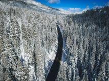 Camino del invierno de Ariel fotos de archivo libres de regalías