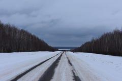 Camino del invierno en el bosque Imagen de archivo libre de regalías