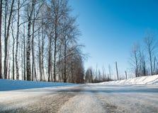 Camino del invierno en el bosque ruso en un día soleado claro Imágenes de archivo libres de regalías