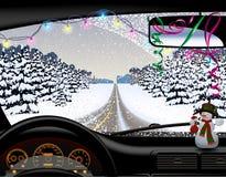Camino del invierno en nevadas desde adentro del coche stock de ilustración