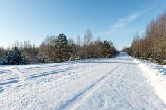 Camino del invierno Nevado con las marcas del neumático Foto de archivo libre de regalías