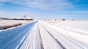 Camino del invierno Nieve e hielo fotos de archivo