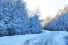 Camino del invierno a través de campos y de bosques nevosos Imagenes de archivo