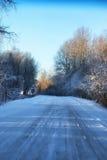 Camino del invierno a través de campos y de bosques nevosos Fotos de archivo