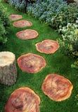 Camino del jardín con madera y césped Imagen de archivo libre de regalías