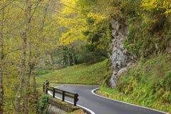 Camino del otoño en las montañas Fotos de archivo libres de regalías