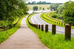 Camino del parque del verano al lado del lago del cisne Fotografía de archivo libre de regalías