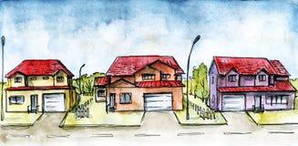 Camino del suburbio. stock de ilustración