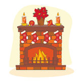 Camino della decorazione di Natale. Immagini Stock