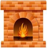 Camino di Natale con fuoco e legna da ardere Immagini Stock
