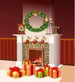 Camino di Natale con i contenitori di regalo di Natale Fotografia Stock Libera da Diritti