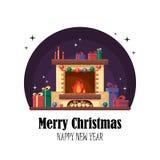 Camino di Natale con i regali, l'orologio e la candela Fotografia Stock