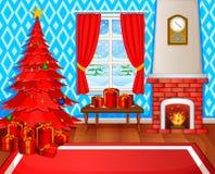 Camino di Natale con l'albero, i presente e la poltrona di natale Fotografia Stock Libera da Diritti