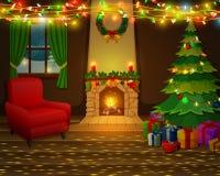 Camino di Natale con l'albero, i presente e la poltrona di natale Fotografia Stock