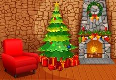 Camino di Natale con l'albero, i presente e la poltrona di natale Fotografie Stock
