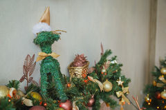 Camino di Natale con la decorazione Fotografie Stock
