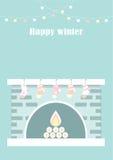 Camino di natale Natale e fuoco, decorazione domestica, interna per la celebrazione, illustrazione piana Immagini Stock