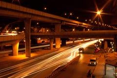 Camino en Bangkok en la noche Imagen de archivo libre de regalías