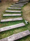 Camino en el parque, calzada de la curva con madera en campo de hierba verde Imagen de archivo