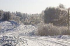 Camino en invierno Fotos de archivo libres de regalías