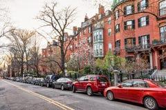 Camino en la vecindad Boston céntrica de Beacon Hill en mA América fotografía de archivo libre de regalías