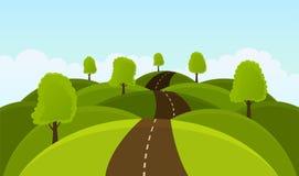 Camino en las colinas entre árboles y prados libre illustration