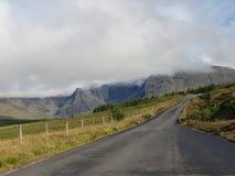 Camino en los paisajes de la montaña y del Forest Green foto de archivo libre de regalías
